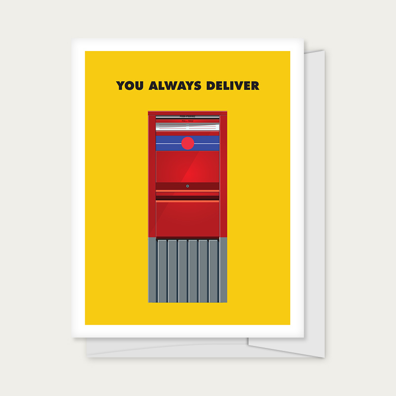 """Greeting card with a Canada Post mailbox captioned """"You Always Deliver"""""""